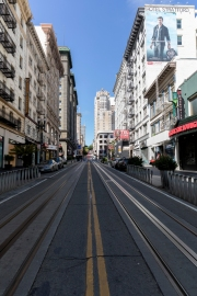 An empty street in San Francisco, CA, on March 31, 2020. Millions of San Francisco Bay Area  residents were ordered to stay home for the third week to slow the spread of the coronavirus as part of a lockdown effort.