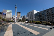 The deserted Union Square  in San Francisco, CA, on March 31, 2020. Millions of San Francisco Bay Area  residents were ordered to stay home for the third week to slow the spread of the coronavirus as part of a lockdown effort.