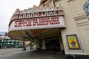 The marquis of the Grand Lake theater in Oakland, CA,  on  March 18, 2020. Millions of San Francisco Bay Area  residents were ordered to stay home to slow the spread of the coronavirus as part of a lockdown effort, marking one of the nation's strongest efforts to stem the spread of the deadly virus.