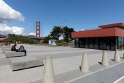 The visitor center at the entrance to the Golden Bridge  in San Francisco, CA, on March 19, 2020, is closed and empty of the usual crowd of tourists.  California residents were ordered to stay home to slow the spread of the coronavirus as part of a lockdown effort.