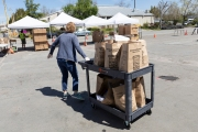 "A volunteer pulls a cart loaded with bags of food at the Alameda Food Bank distribution center in Alameda, CA, on April 15, 2019. The food was distributed through a drive-through to people in need following the loss of their jobs due to the ""shelter-in-place"" order to limit the spread of the coronavirus SARS-CoV-2."