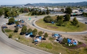 A homeless camp sits by the I80 freeway in Berkeley, CA, on April 22, 2020. The homeless problem in the San Francisco Bay Area has worsened since the start of the coronavirus pandemic.
