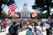 Protesters in front of the California State Capitol in Sacramento, CA, on May 1, 2020.