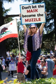A protester in front of the California State Capitol in Sacramento, CA, on May 1, 2020.