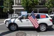 Protesters driving around the California State Capitol in Sacramento, CA, on May 1, 2020.