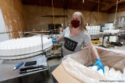 A blind worker at the production line of cleaning products at the Sirkin Center in San Leandro, CA, on May 11, 2020.