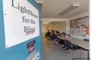 Lunch break for blind workers at the Sirkin Center in San Leandro, CA, on May 11, 2020.