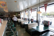 Inside  Mel's Drive-In restaurant in San Francisco on May 12,2020, where customers are not allowed to sit in.  Like in the 1950's, the restaurant is now offering carhop service so customers stay safe while still feeling like they get the experience of eating out during the shelter-in-place order due to the coronavirus pandemic.