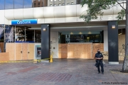 A local Chase bank with its storefront protected by plywood  in Oakland, CA, on May 30, 2020,