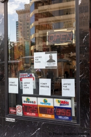 A storefront in Oakland, CA, on May 30, 2020, filled with words in support of George Floyd in Minneapolis, MN, who passed away while pleading with arresting officers that he couldn't breathe as one of the officers was shown on video kneeling on his neck.