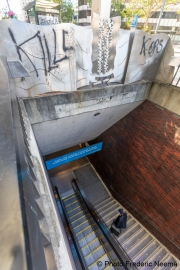 """A man enter the bart station in Oakland, CA, on May 30, 2020, that bears the """"Kill Cops"""" graffiti."""
