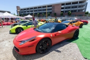 A number of exotic cars parked at an event in Petaluma, CA, on June 27, 2020, while trying to respect social distancing rules due the ongoing COVID-19 pandemic. The event, held at the Adobe Road Wines winery , was organized by 100|OCT, an exotic car community on the US West Coast  founded by Frenchman Benoit Boningue. The event marked the final destination of a day ride through the region.