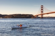 Kayaker Cyril Derreumaux training in the San Francisco Bay on February 25, 2021, with the Golden gate Bridge in the background.France-born American entrepreneur Cyril Derreumaux (44) will leave at the end of May 2021 for a 70-day solo and unsupported sea kayak Pacific crossing from California to Hawaii.