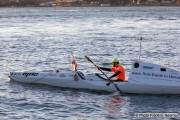 Kayaker Cyril Derreumaux training in the San Francisco Bay on February 25, 2021.France-born American entrepreneur Cyril Derreumaux (44) will leave at the end of May 2021 for a 70-day solo and unsupported sea kayak Pacific crossing from California to Hawaii.