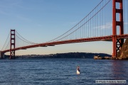 Kayaker Cyril Derreumaux during training in the San Francisco Bay on February 25, 2021, with the Golden gate Bridge in the background.France-born American entrepreneur Cyril Derreumaux (44) will leave at the end of May 2021 for a 70-day solo and unsupported sea kayak Pacific crossing from California to Hawaii.