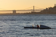 Kayaker Cyril Derreumaux training in the San Francisco Bay on February 25, 2021, with the Bay Bridge in the background.France-born American entrepreneur Cyril Derreumaux (44) will leave at the end of May 2021 for a 70-day solo and unsupported sea kayak Pacific crossing from California to Hawaii.