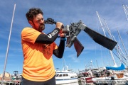 Kayaker Cyril Derreumaux showing the special flippers in Sausalito, CA, on 25, 2021, that will propel his kayak in situations when not being able to paddle such as having a meal.France-born American entrepreneur Cyril Derreumaux (44) will leave at the end of May 2021 for a 70-day solo and unsupported sea kayak Pacific crossing from California to Hawaii.