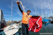 Kayaker Cyril Derreumaux showing the parachute sea anchor in Sausalito, CA, on 25, 2021, that will be used to anchor his kayak in the middle of the ocean when stationary. France-born American entrepreneur Cyril Derreumaux (44) will leave at the end of May 2021 for a 70-day solo and unsupported sea kayak Pacific crossing from California to Hawaii.