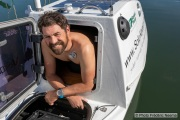 Kayaker Cyril Derreumaux in his kayak in  Sausalito, CA, on February 25 2021.France-born American entrepreneur Cyril Derreumaux (44) will leave at the end of May 2021 for a 70-day solo and unsupported sea kayak Pacific crossing from California to Hawaii.