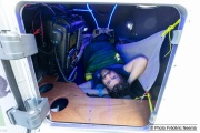 Kayaker Cyril Derreumaux showing how he will sleep inside the cabin of his kayak in Sausalito, CA,  on February 25, 2021.France-born American entrepreneur Cyril Derreumaux (44) will leave at the end of May 2021 for a 70-day solo and unsupported sea kayak Pacific crossing from California to Hawaii.