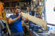 Kayaker Cyril Derreumaux fixing a keel in his workshop in  Sausalito, CA, on February 25 2021.France-born American entrepreneur Cyril Derreumaux (44) will leave at the end of May 2021 for a 70-day solo and unsupported sea kayak Pacific crossing from California to Hawaii.